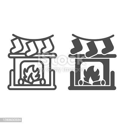 istock Fireplace with bonfire and socks line and solid icon, Christmas concept, New Year living room interior sign on white background, Christmas fireplace icon in outline style for mobile. Vector graphics. 1283630334