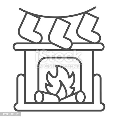 istock Fireplace with bonfire and socks thin line icon, Christmas concept, New Year living room interior sign on white background, Christmas fireplace icon in outline style for mobile. Vector graphics. 1283631951