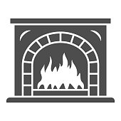 Fireplace with fire solid icon, New Year concept, Christmas fireplace sign on white background, home decoration, interior for New Year celebration icon in glyph style. Vector graphics