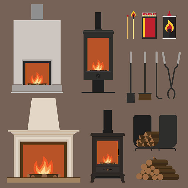 Fireplaces Set of vector fireplaces, with woods, tools and accessories. Flat style. stove stock illustrations