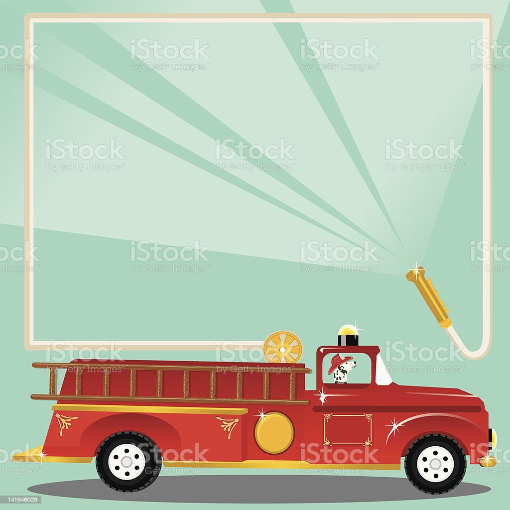 Firetruck Birthday Party Invitation vector art illustration