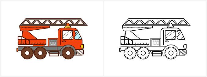 Firetruck car coloring book for kids. Fire truck