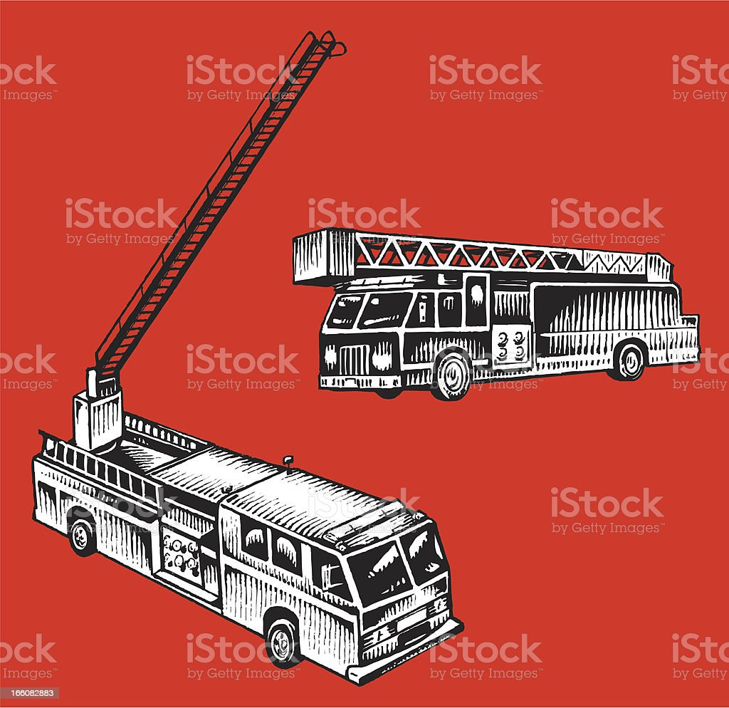 Firetruck - Emergency Service Vehicle royalty-free stock vector art