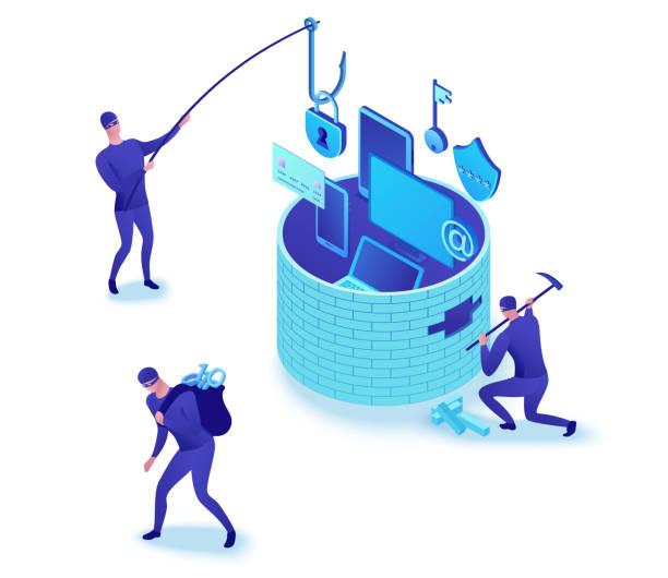 Firewall-Angriff, Phishing-Betrug, Datendiebstahl, Hacker brechen Wand, um Daten zu stehlen, Informationsschutzkonzept, Cyber-Kriminalität, Computer-Sicherheit und-Sicherheit, 3d isometrische Abbildung – Vektorgrafik