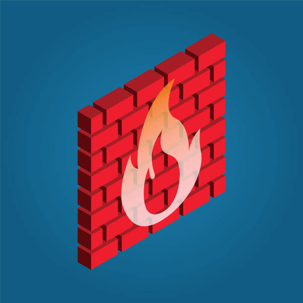 Firewall icon red brick with fire vector symbol in isometric 3D style firewall stock illustrations