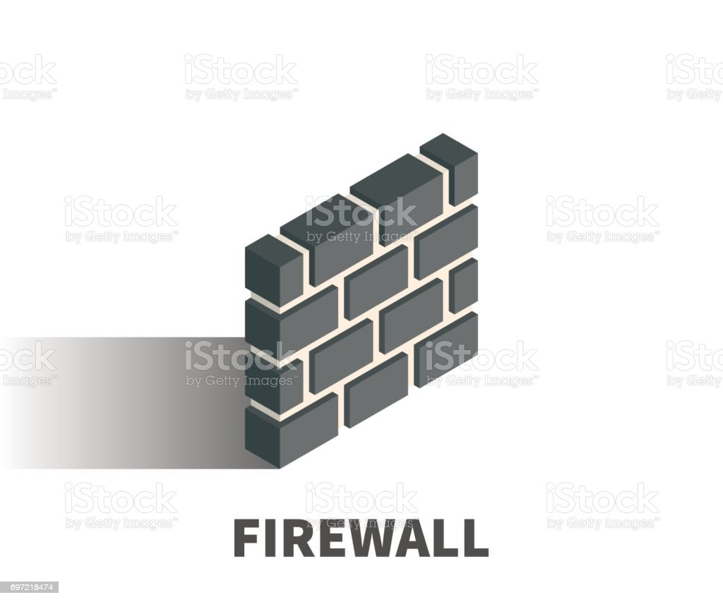 Firewall icon, vector symbol in isometric 3D style isolated on white background. vector art illustration