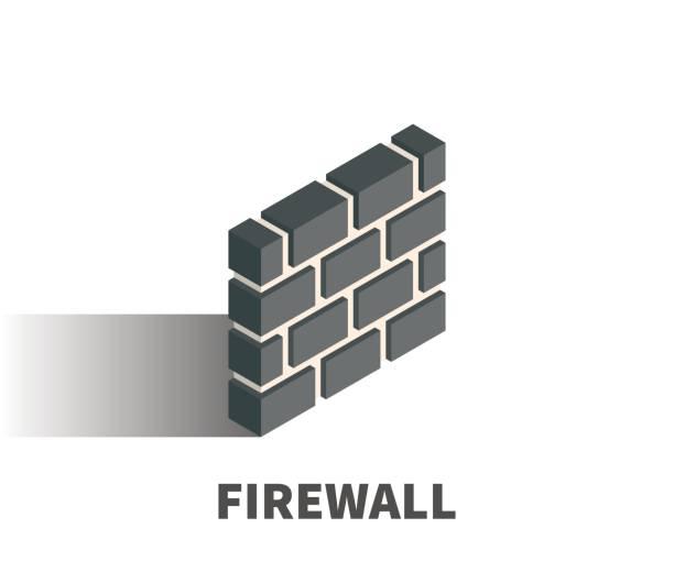 illustrations, cliparts, dessins animés et icônes de icone de firewall, symbole vecteur dans un style 3d isométrique isolé sur fond blanc. - mur d'enceinte