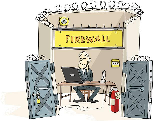 Firewall man vector art illustration