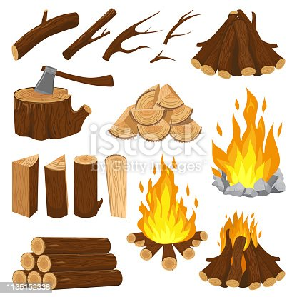 Firewood boards. Fireplace fire wood, burning wooden stack and blazing bonfire. Campfire logging pile, wood trunks or tree logs. Woodcutter log cartoon vector isolated icons illustration set