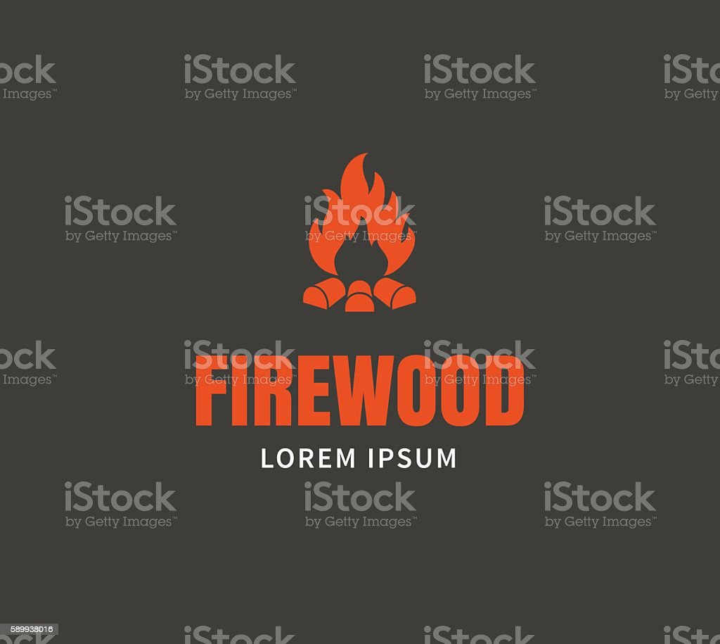Firewood emblem template vector art illustration