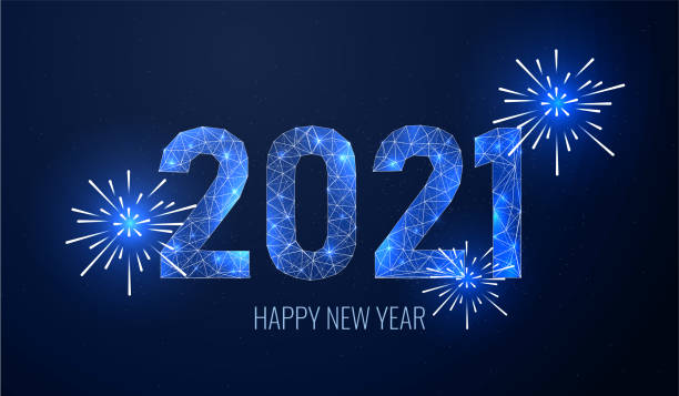 Firework 2021 new year in futurictic style on blue background. Geometric polygonal concept of shimmering numbers for a Christmas card. Banner for congratulations or invitation, vector illustration Firework 2021 new year in futurictic style on blue background. Geometric polygonal concept of shimmering numbers for a Christmas card. Banner for congratulations or invitation, vector illustration happy new year 2021 stock illustrations