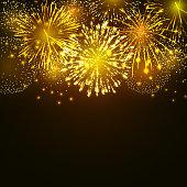 Vector golden fireworks explosion on dark background. New Year celebration firework