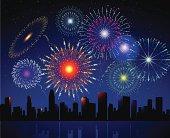 Fireworks in the sky with city skyline.