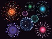 Graphic fireworks in black background.