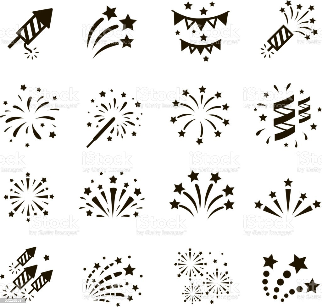 Firework Icon Set Vector Stock Vector Art Amp More Images Of