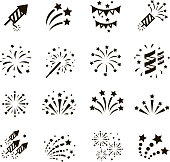 Firework icon set with petard, stars. Festival and event, celebrate and party. Vector