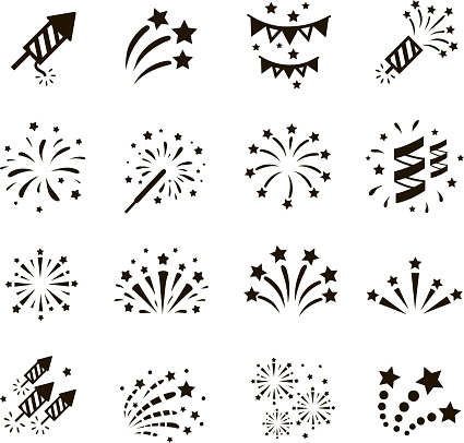 Firework Icon Set Vector Stock Illustration - Download Image Now