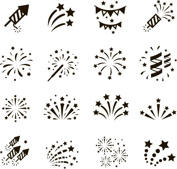 Firework icon set , vector Firework icon set with petard, stars. Festival and event, celebrate and party. Vector  sparkler stock illustrations