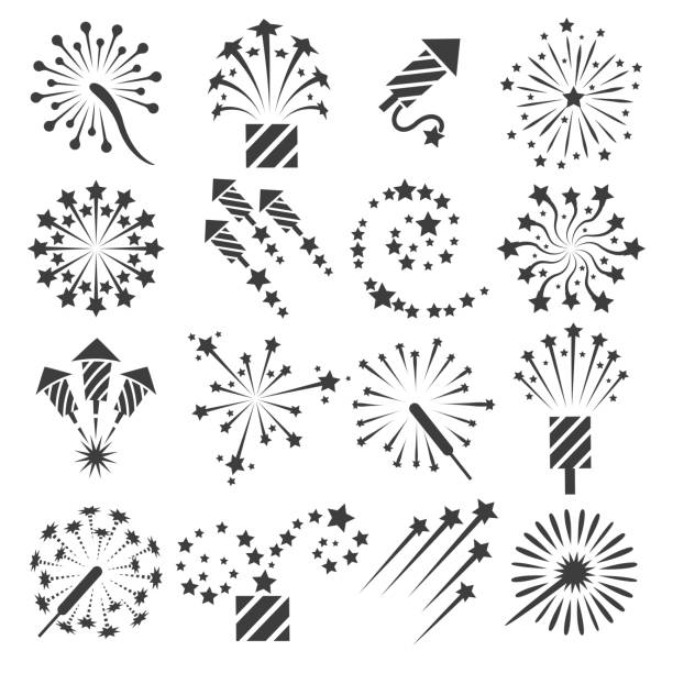 firework icons, party signs - anniversary clipart stock illustrations