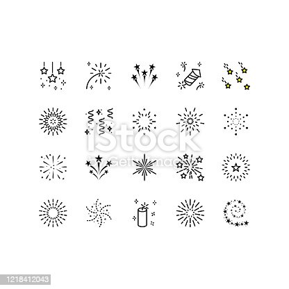 Set of firework icons, such as sparkle, party, star. Can be used for decoration celebration, party, new year. Editable stroke