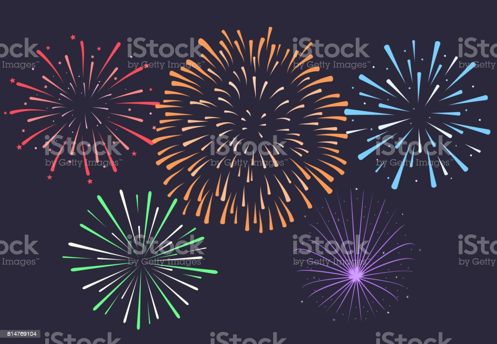 Firework on night background, anniversary bursting fireworks. V vector art illustration