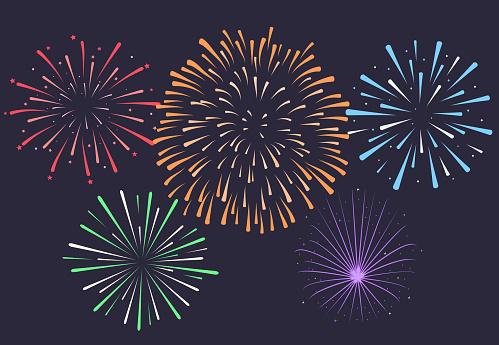 晚上背景周年爆裂煙花煙火v向量圖形及更多七月圖片