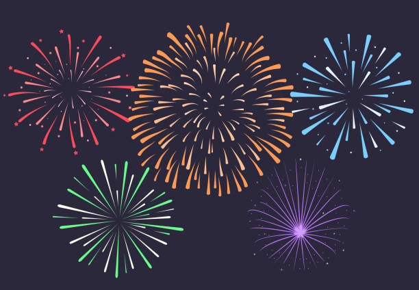 firework on night background anniversary bursting fireworks v vector art illustration