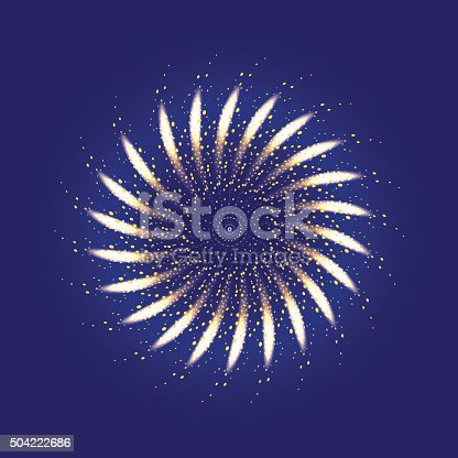 Firework ornament illustration, dark background with firework show. Festive, bright firework for collage and design brochures, poster, wrapping paper, greeting card. Isolated salute for design. Vector illustration.