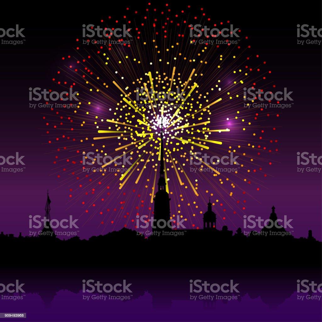 Feuerwerk über Peter und Paul-Festung, Sankt Petersburg, Russland. Vektor-Hintergrund. – Vektorgrafik