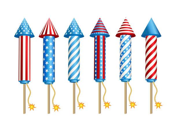 Firework  rockets  in  American  national  flag  colors. vector art illustration
