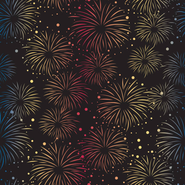 Firework seamless vector pattern isolated. Bright Fireworks gradient on black background. vector art illustration