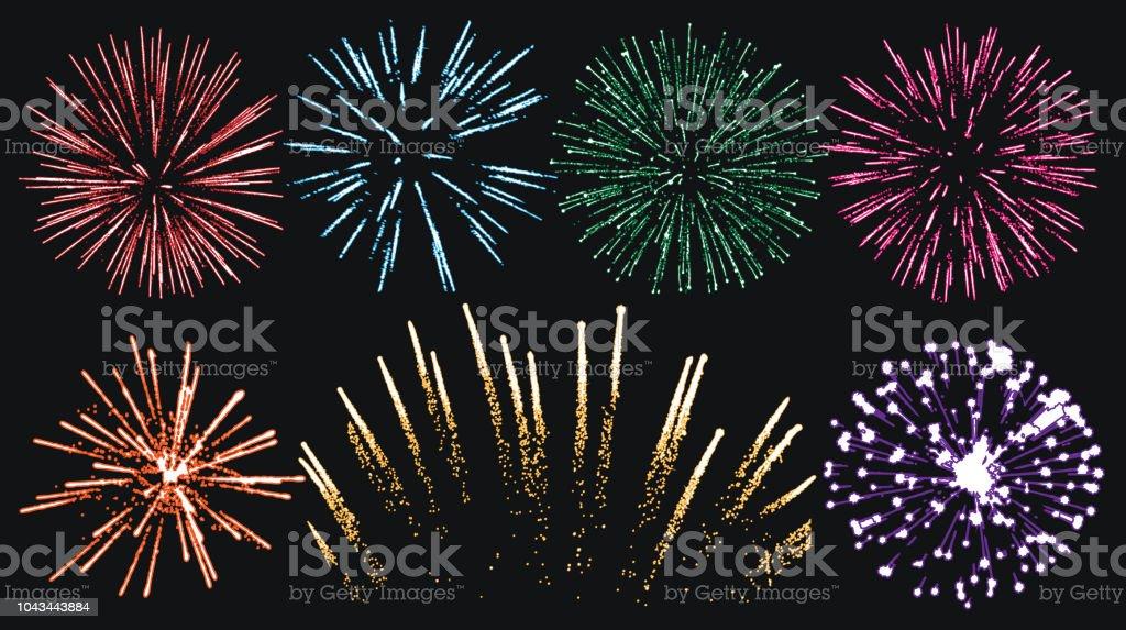 Firework set isolated vector Firework set isolated vector 2019 stock vector