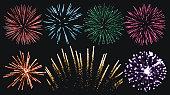 Firework set isolated vector