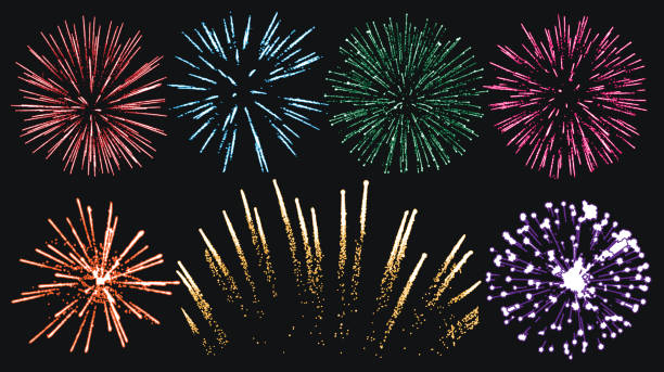 firework set isolated vector - fireworks stock illustrations