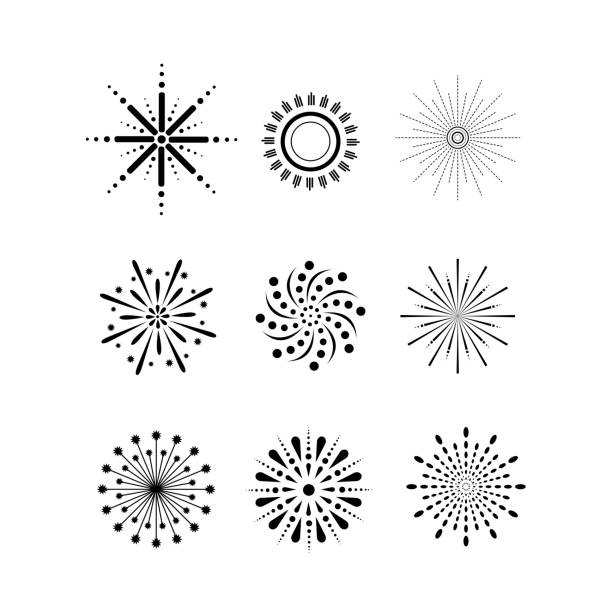 firework, set of 9 - chinese new year stock illustrations