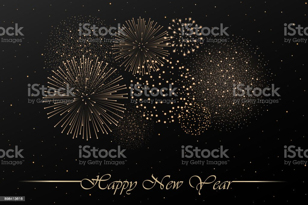 Firework show on black night sky background. New year concept. Congratulations background. Vector illustration Firework show on black night sky background. New year concept. Congratulations background. Vector illustration Abstract stock vector