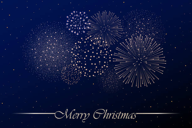 Firework show on blue night sky background. Christmas concept. Congratulations background. Vector illustration Firework show on blue night sky background. Christmas concept. Congratulations background. Vector illustration fireworks stock illustrations