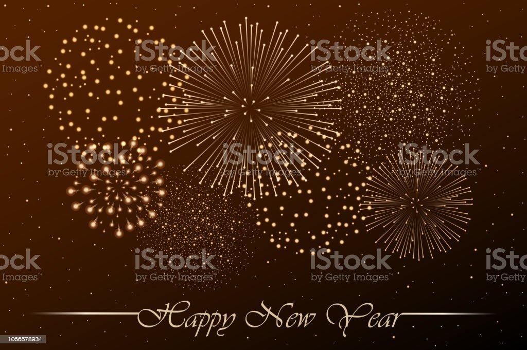 firework show on golden night sky background new year concept congratulations or invitation card