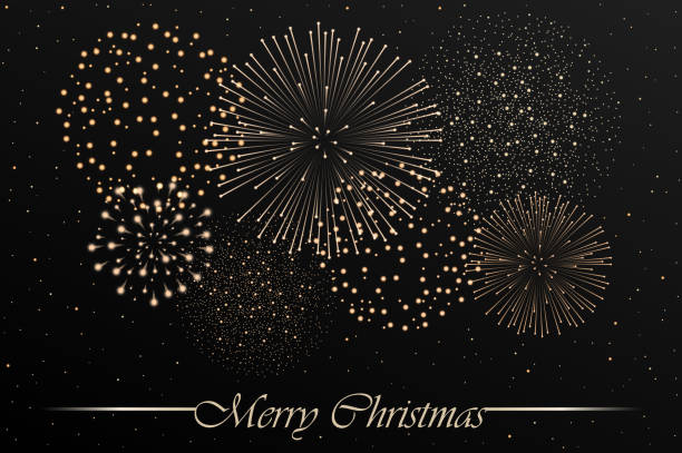 Firework show on grey night sky background. Christmas concept. Congratulations or invitation card background. Vector illustration vector art illustration