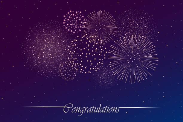 ilustrações, clipart, desenhos animados e ícones de mostra do firework no fundo do céu nocturno. ilustração do vetor - fireworks sky