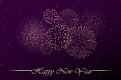 Firework show on purple night sky background. New year concept. Congratulations or invitation card background. Vector illustration