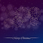 Firework show on purple night sky background with glow and sparkles. Christmas concept. Invitation, card, party background. Vector illustration