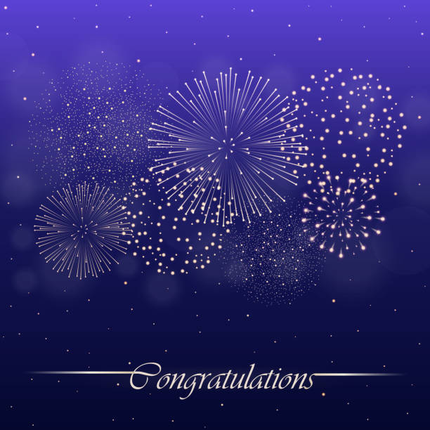Firework show on violet night sky background. Independence day concept. Congratulations background. Vector illustration vector art illustration