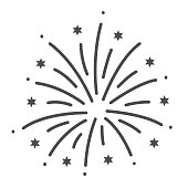 Firework thin line icon, Explosive pyrotechnic show concept, Fireworks with bursting stars sign on white background, salutes icon in outline style for mobile and web design. Vector graphics.