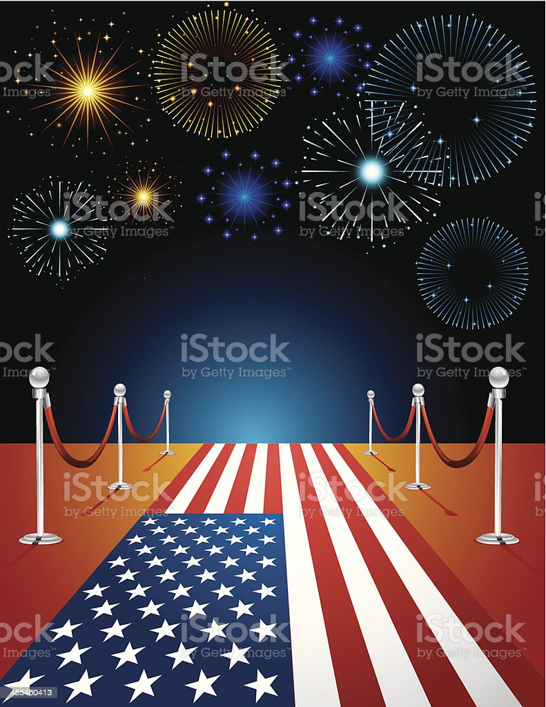 Firework with USA Carpet Celebration royalty-free stock vector art