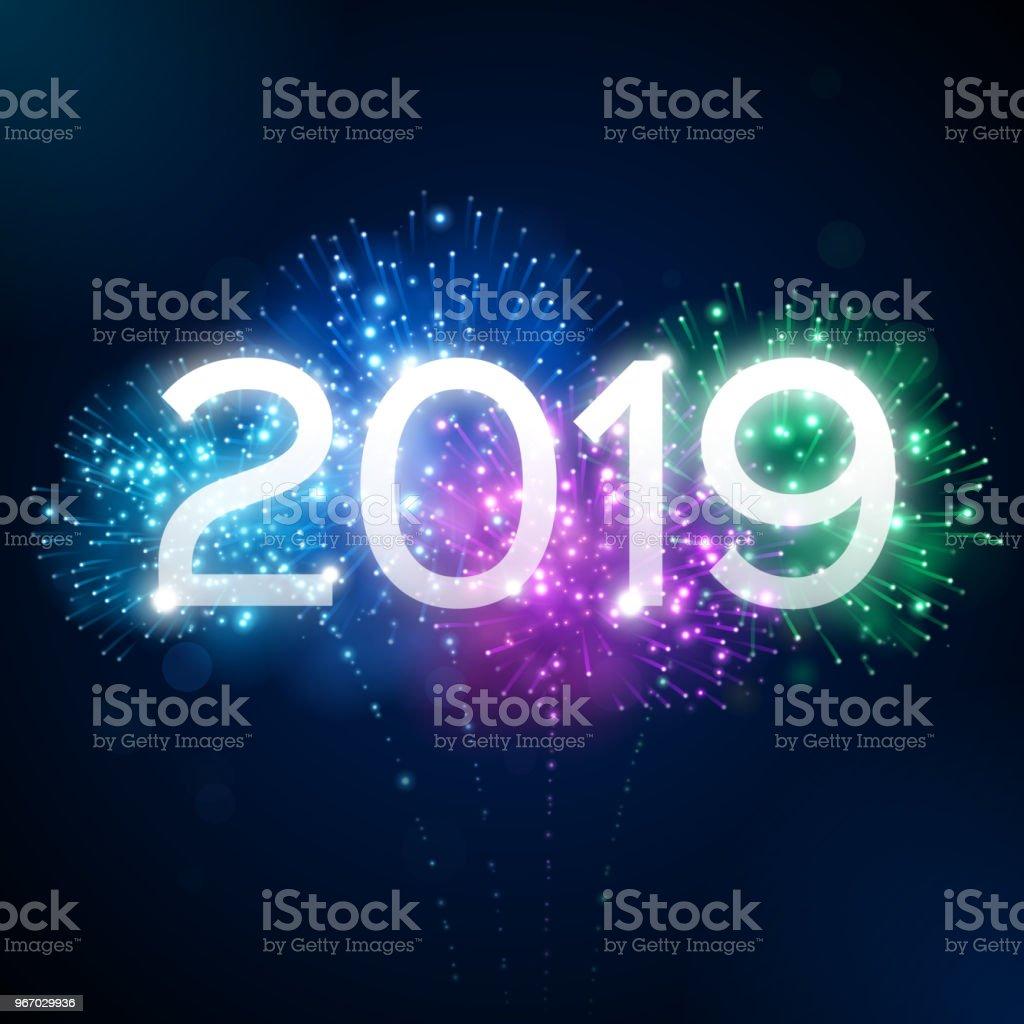 Fireworks 2019 New Year Celebration vector art illustration
