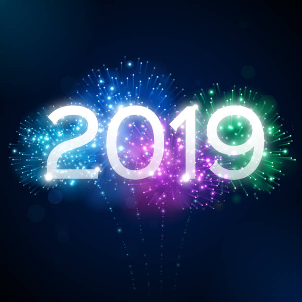 Fireworks 2019 New Year Celebration Happy New Year 2019 fireworks background concept. pyrotechnic effects stock illustrations