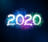 Happy New Year 2020 fireworks background concept.