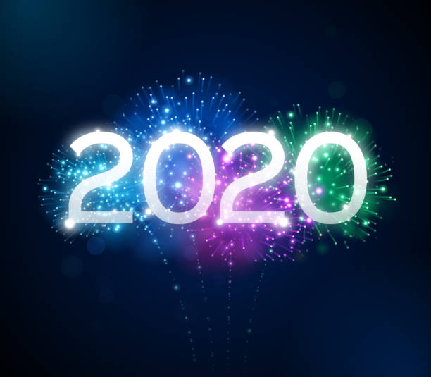 Fireworks 2020 New Year Celebration Happy New Year 2020 fireworks background concept. pyrotechnic effects stock illustrations