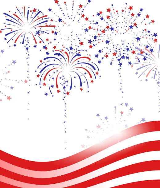 fireworks above us flag vector art illustration